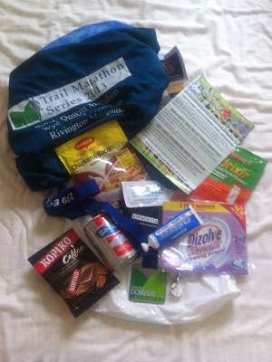 Goody bag and medal