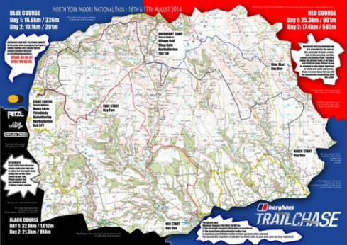 "Berghaus Trail Chase map with ""motivating phrases"""