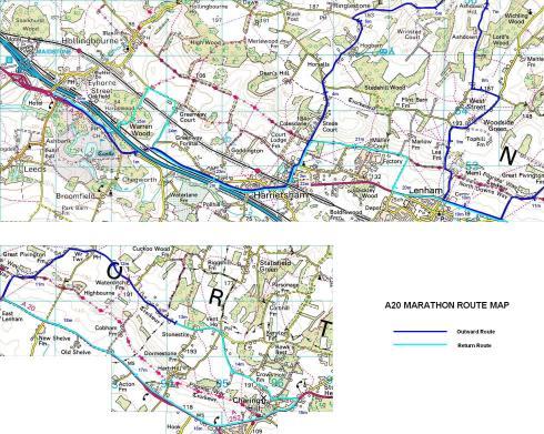 The A20 Path'n'Downs Marathon map