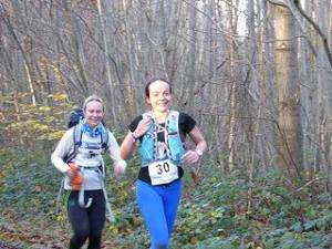 Emma and I enjoying the last trail race - look at those smiles