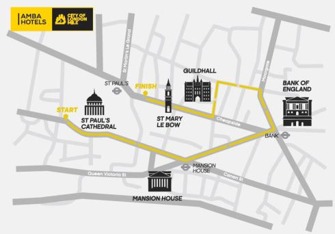 Run the City of London: route of the Amba Hotels City of London Mile 2015